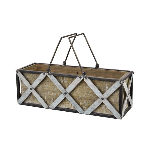 951770 Avery Hill Rectangle Planter Galvanized, Natural