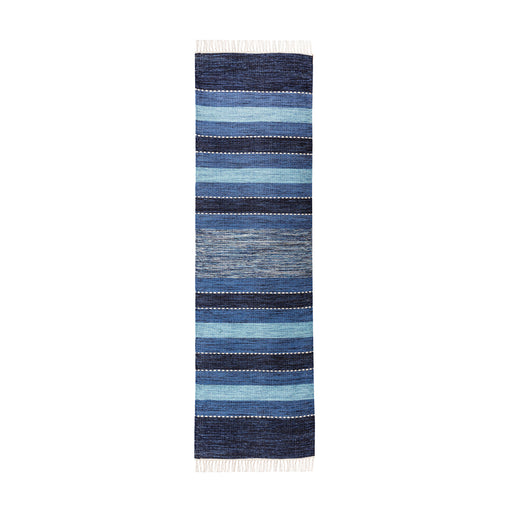 969218 Santos Runner Rug 2.25 X 8 Blue, Soft Denim, Crema