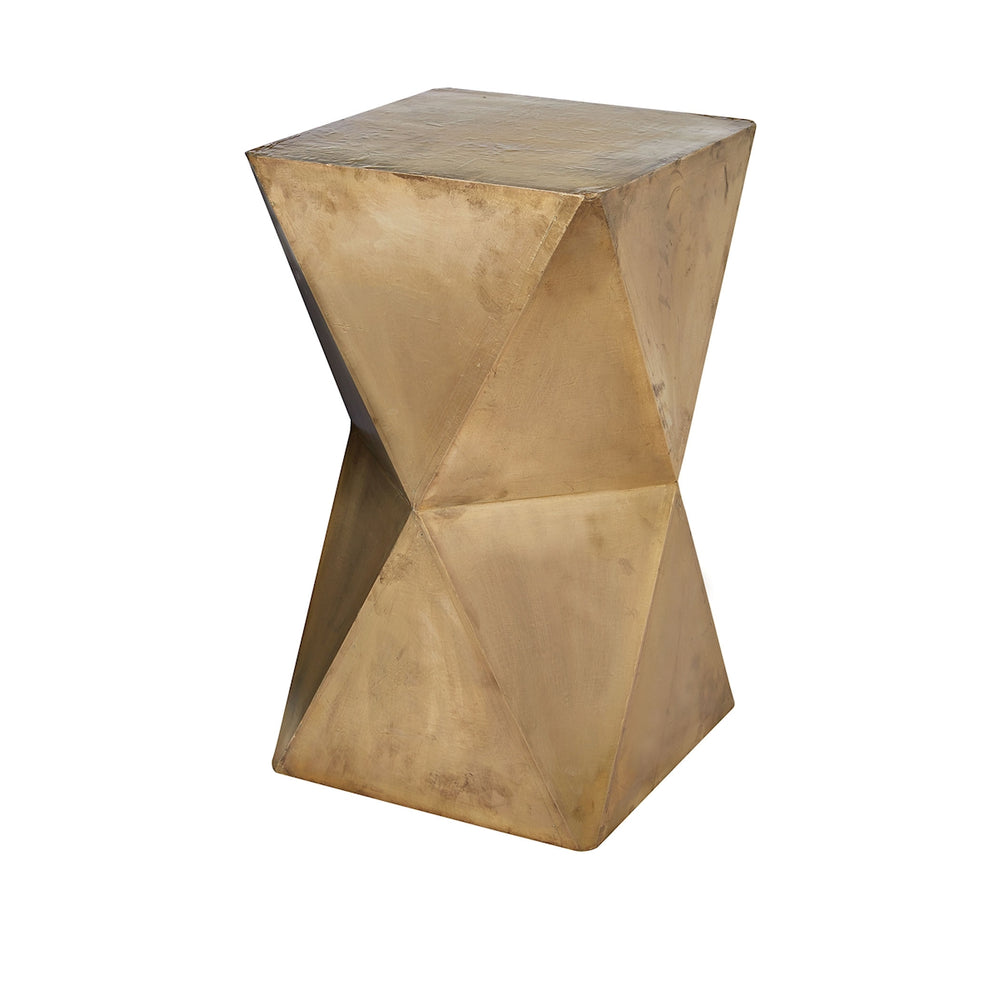 985-042 Faceted Stool With Brass Cladding - Gold Gold