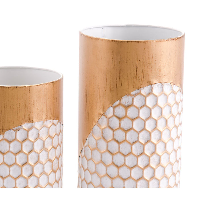 Honeycomb Set Of 3 Candle Holders Gold