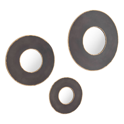 Alcala Set Of 3 Round Mirrors Black