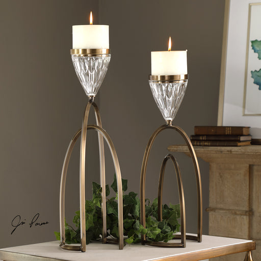 Carma Bronze And Crystal Candleholders, S/2
