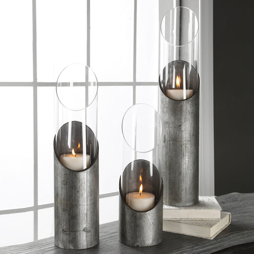 Karter Iron & Glass Candleholders Set/3