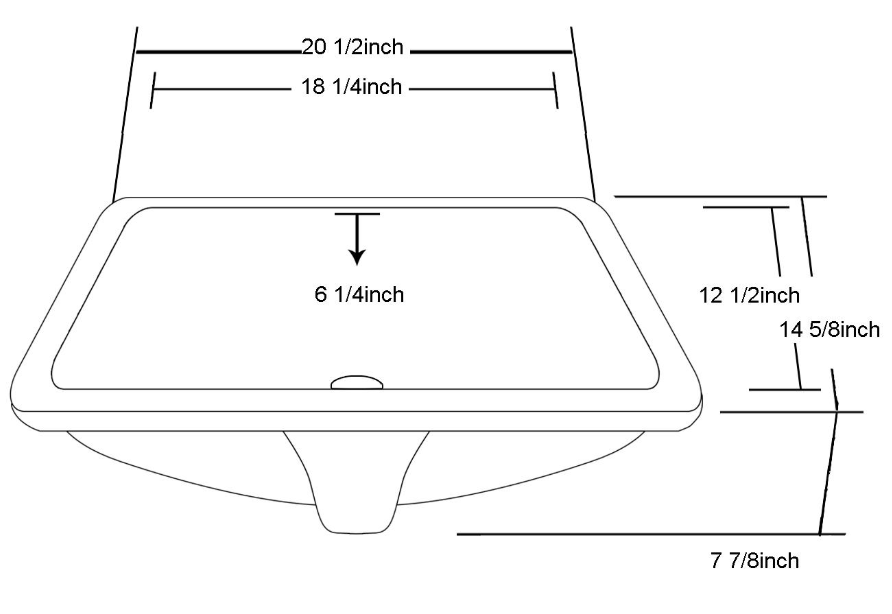 "21"" Under Counter Rectangle Ceramic Basin with Overflow"