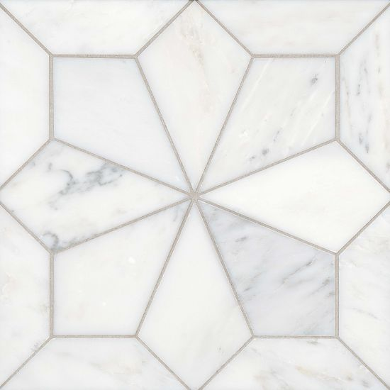 Blomma Floor and Wall Mosaic in Bianco, Sold by the Piece
