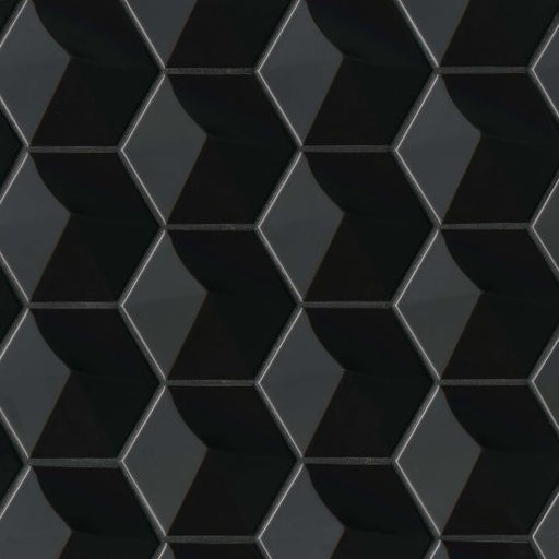 "Hedron Gloss 4"" x 5"" Wall Tile in Black, Sold by the Carton"
