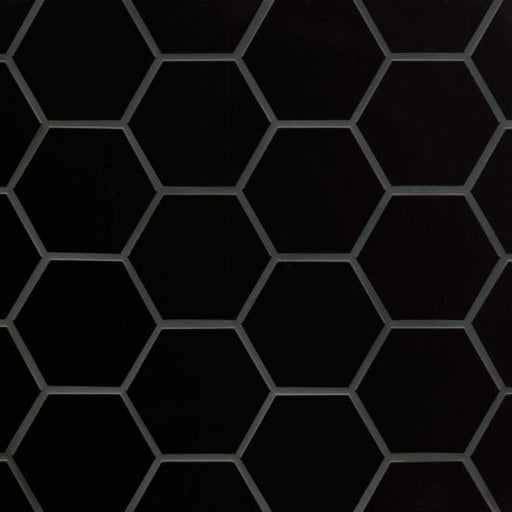 "Hedron Gloss 4"" x 5"" Flat Wall Tile in Black, Sold by the Carton"