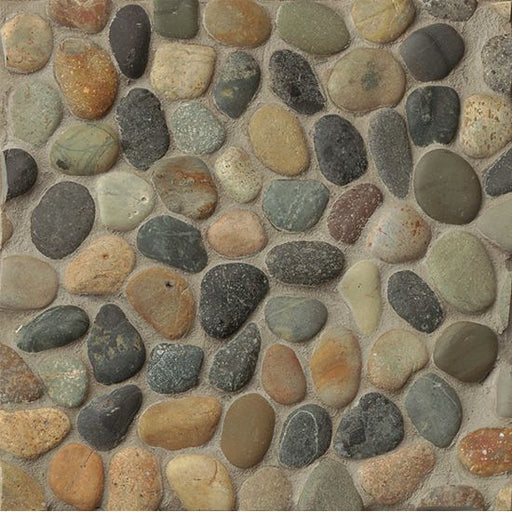 Hemisphere Unglazed Floor and Wall Pebble Mosaic in Riverbed, Sold by the Piece