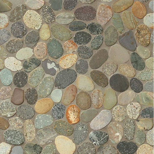 Hemisphere Unglazed Floor and Wall Sliced Pebble Mosaic in Riverbed, Sold by the Piece