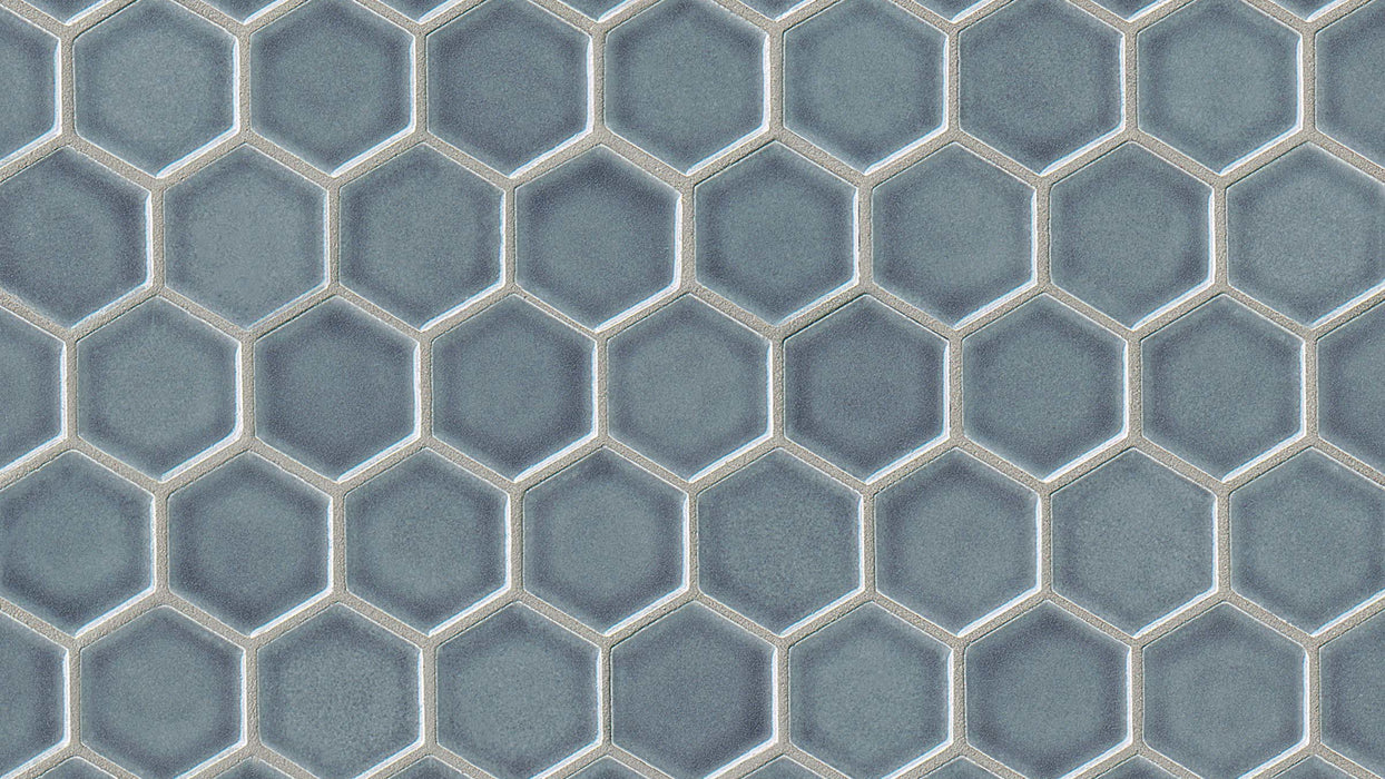 "PROVINCETOWN 1 1/2"" HEXAGON MOSAIC HARBOR BLUE, 1 BOX (7 SHEETS @ 8.54 S/F)"
