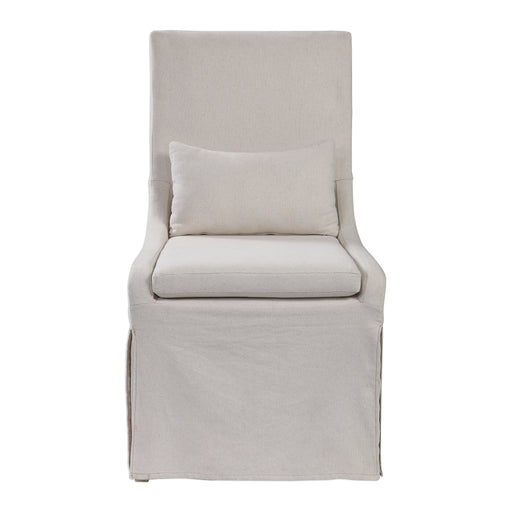 Coley White Linen Armless Chair