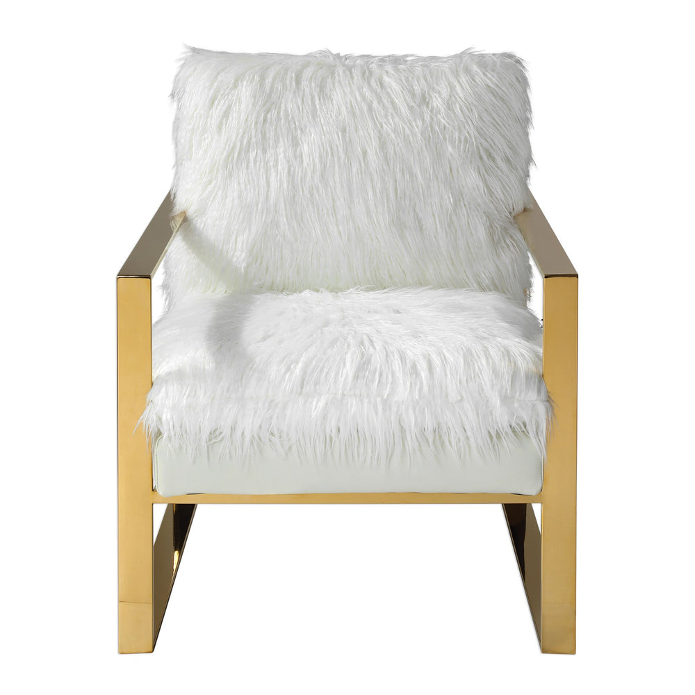 "Uttermost Delphine White Accent Chair 23438 A Total Glam Statement Featuring Crisp White Faux Shearling, Contrasted With A Striking Gold Thick Stainless Steel Frame. Seat Heigh Is 19""."