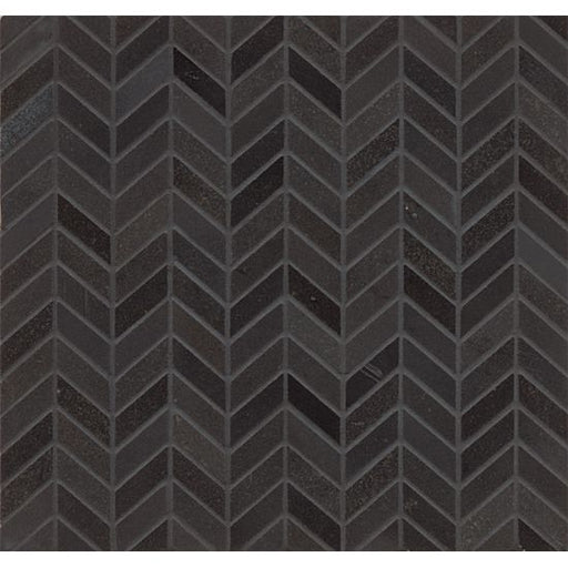 Absolute Black Chevron Wall Mosaic, Sold by the Piece