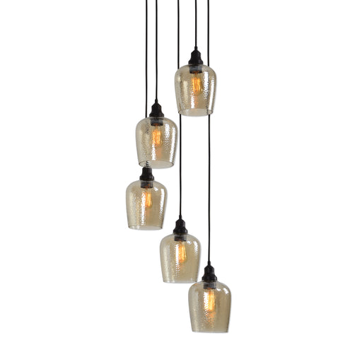 Aarush 5 Light Glass Cluster Pendant