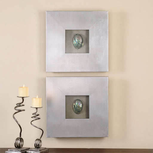 Abalone Shells Silver Wall Art, S/2