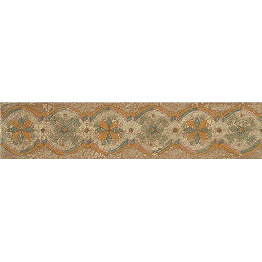 "Cotto Nature Gloss 3"" x 14"" Tira Hand Painted Liner Trim in Tira Sandro, Sold by the Piece"