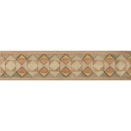 "Cotto Nature Gloss 3"" x 14"" Tira Hand Painted Liner Trim in Tira Volterra, Sold by the Piece"