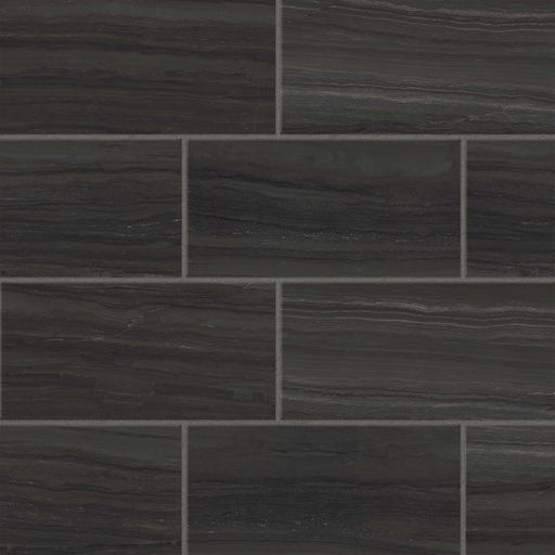 "Highland 12"" x 24"" Floor and Wall Tile in Black, Sold by the Carton"