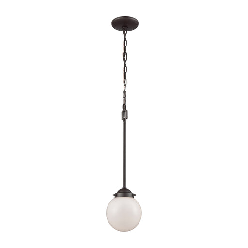 Thomas Lighting CN120151 Beckett 1 Light Pendant In Oil Rubbed Bronze With Opal White Glass Oil Rubbed Bronze
