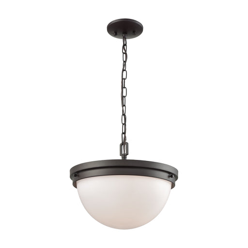 Thomas Lighting CN120281 Beckett 3 Light Pendant, Semi Flush Mount Dual Mount In Oil Rubbed Bronze With Opal White Glass Oil Rubbed Bronze