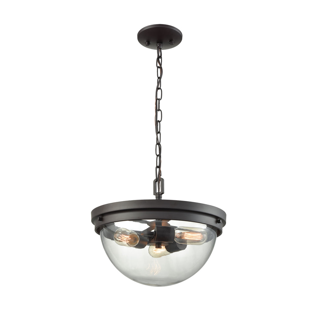 Thomas Lighting CN129281 Beckett 3 Light Pendant, Semi Flush Mount Dual Mount In Oil Rubbed Bronze With Clear Glass Oil Rubbed Bronze