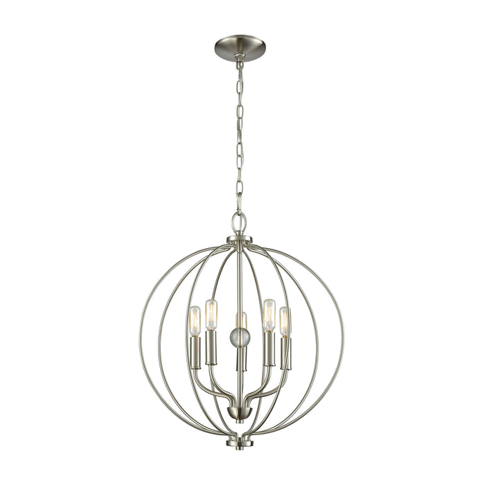 Thomas Lighting CN15752 Williamsport 5 Light Chandelier In In Brushed Nickel With Clear Glass Ball Brushed Nickel