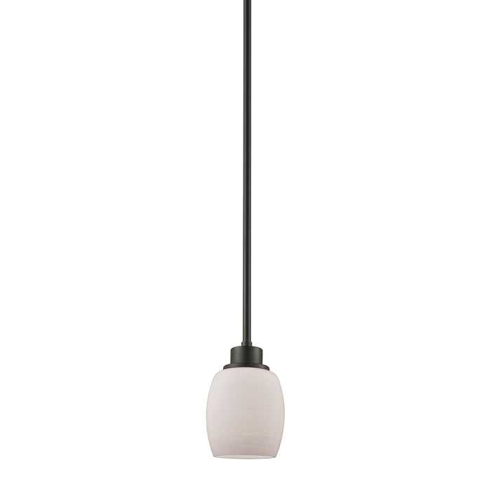 Thomas Lighting CN170151 Casual Mission 1 Light Pendant In Oil Rubbed Bronze With White Lined Glass Oil Rubbed Bronze