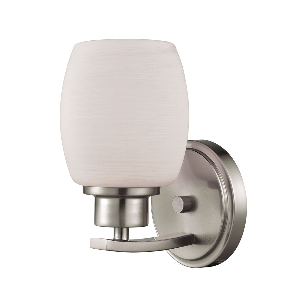 Thomas Lighting CN170172 Casual Mission 1 Light For The Bath In Brushed Nickel With White Lined Glass Brushed Nickel