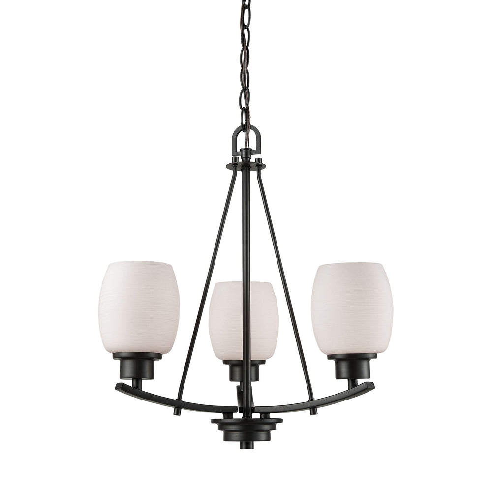 Thomas Lighting CN170321 Casual Mission 3 Light Chandelier In In Oil Rubbed Bronze With White Lined Glass Oil Rubbed Bronze