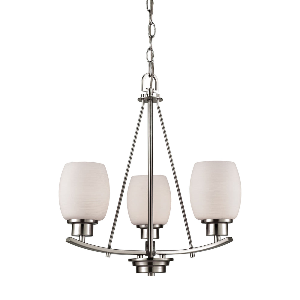 Thomas Lighting CN170322 Casual Mission 3 Light Chandelier In In Brushed Nickel With White Lined Glass Brushed Nickel