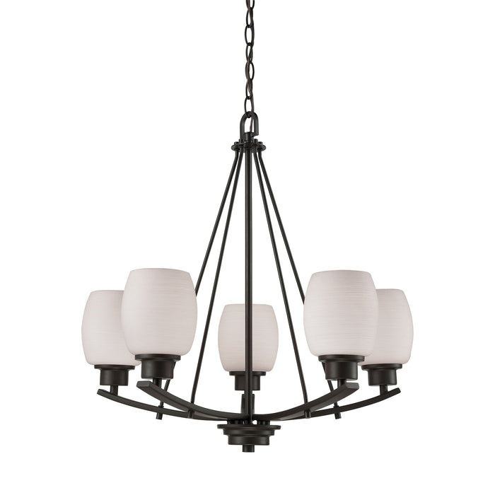 Thomas Lighting CN170521 Casual Mission 5 Light Chandelier In In Oil Rubbed Bronze With White Lined Glass Oil Rubbed Bronze