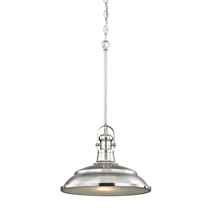 Thomas Lighting CN200142 Blakesley 1 Light Pendant In Brushed Nickel With Frosted Glass Brushed Nickel