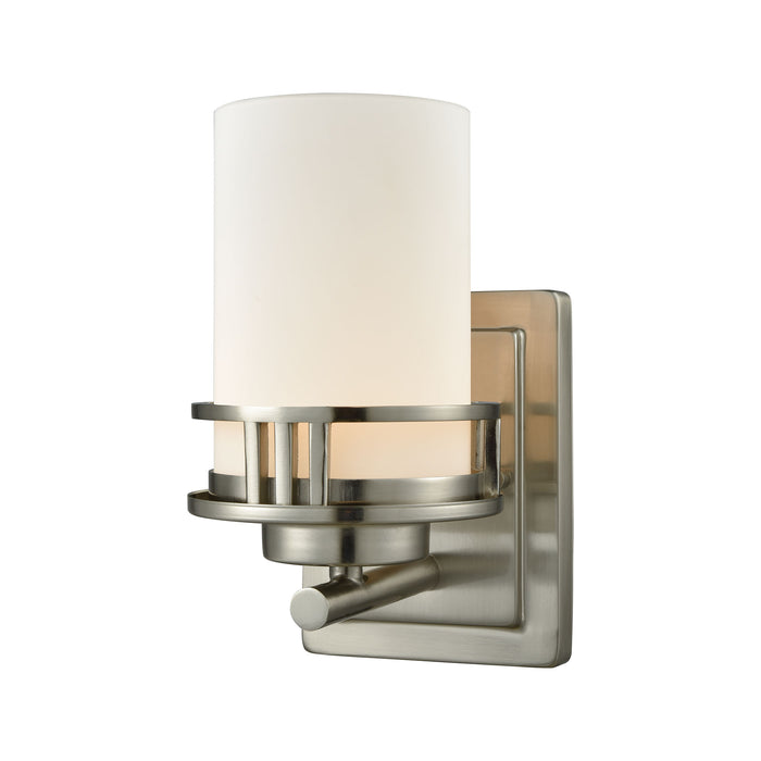Thomas Lighting CN578172 Ravendale 1 Light For The Bath In Brushed Nickel With Opal White Glass Brushed Nickel