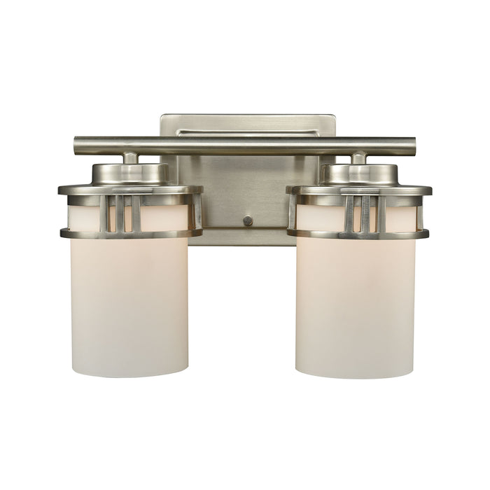 Thomas Lighting CN578212 Ravendale 2 Light For The Bath In Brushed Nickel With Opal White Glass Brushed Nickel