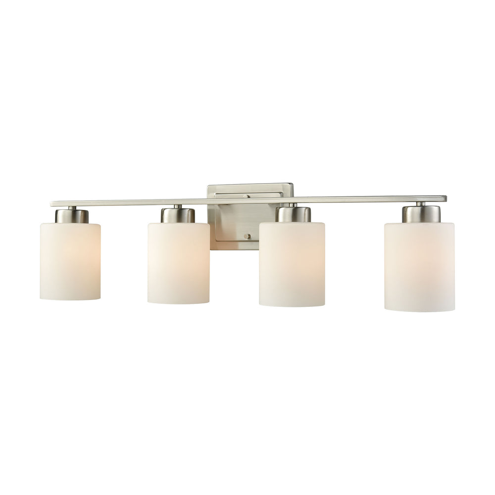 Thomas Lighting CN579412 Summit Place 4 Light For The Bath In Brushed Nickel With Opal White Glass Brushed Nickel