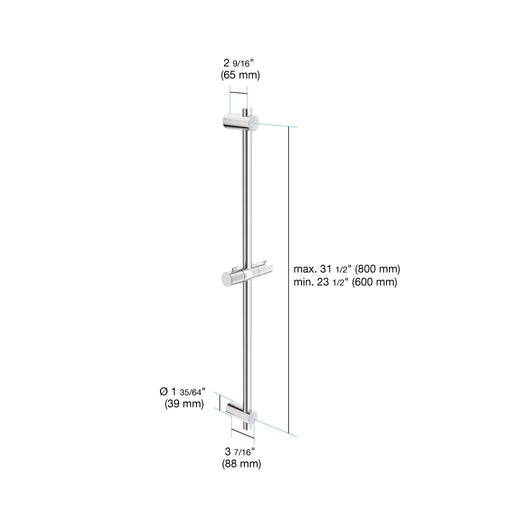 "in2aqua Adjustable Wall Bar, 23 1/2"" Up To 31 1/2"", Chrome 4704 1 00 0 Free Parcel Delivery"