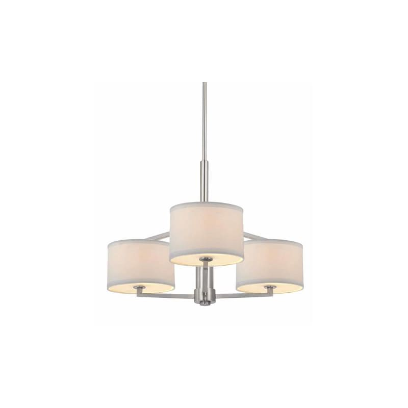 Satin Nickel Monaco 3 Light Single Tier Chandelier