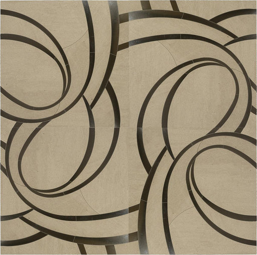 "Suave Due 16"" x 16"" Turbine Wall Tile in Volpe and Stainless Steel, Sold by the Piece"