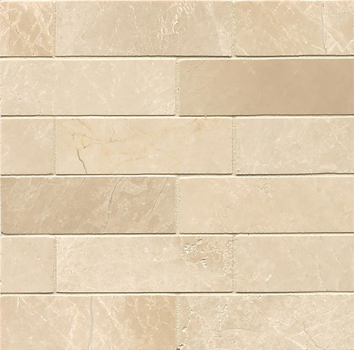 "Rock Glamorous 2"" x 6"" Staggered Joint Floor and Wall Mosaic in Aegean Cream, Sold by the Piece"