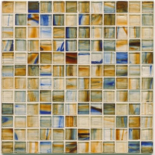 Haute Glass Non-Iridescent Floor and Wall Mosaic in Brown Eyes Blue, Sold by the Piece