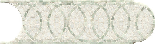 "Mod Rocks 4"" x 12"" Wall Listello in Calacatta Oro and Ming Green, Sold by the Piece"