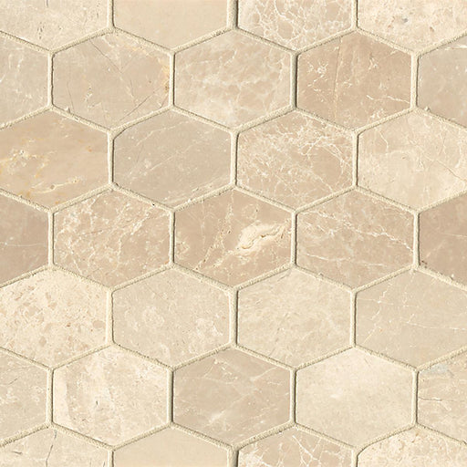 Rock Glamorous Elongated Hexagon Floor and Wall Mosaic in Aegean Cream, Sold by the Piece