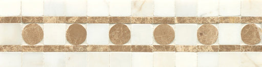 "Mod Rocks 3"" x 11"" Wall Listello in Calacatta Oro and Viburnum, Sold by the Piece"