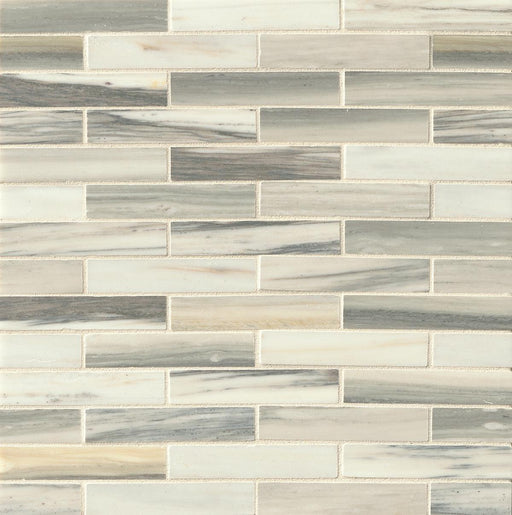 "Vanity Honed 3/4"" x 4"" Floor and Wall Off Set Mosaic in Zebrino, Sold by the Carton"