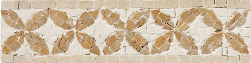 "Nico Mozaics Monnaie 8"" x 2"" Floor and Wall Listello in White Beige, Sold by the Piece"