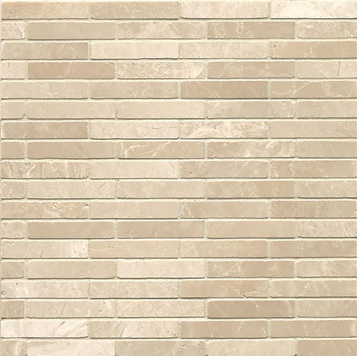 "Rock Glamorous 5/8"" x 3"" Staggered Joint Floor and Wall Mosaic in Aegean Cream, Sold by the Piece"