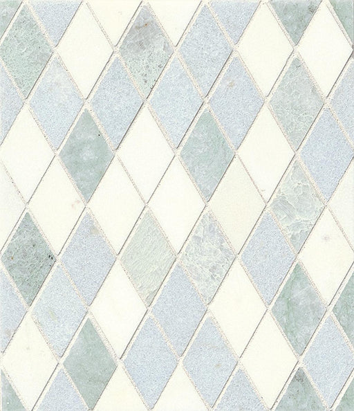 Vanity Floor and Wall Mosaic in White, Ming Green, and Celeste Blu, Sold by the Piece