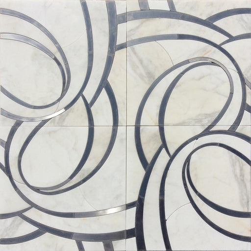 "Suave Due 16"" x 16"" Turbine Wall Tile in Calacatta and Stainless Steel, Sold by the Piece"