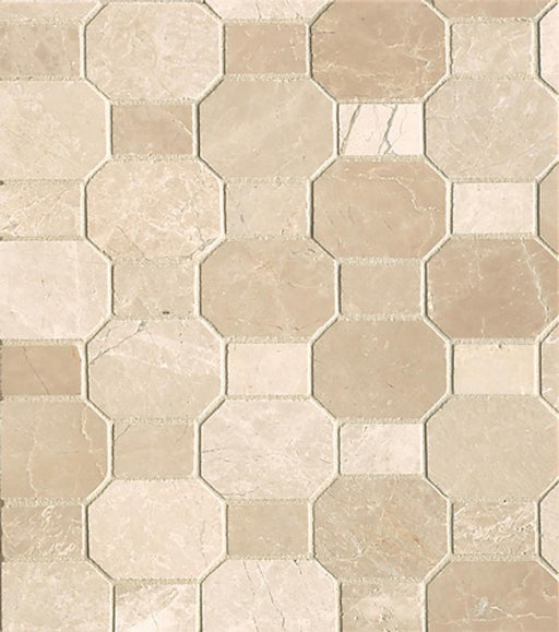 Rock Glamorous Elongated Octagon with Dot Floor and Wall Mosaic in Aegean Cream, Sold by the Piece