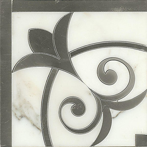 "Suave 4.75"" x 4.75"" Decorative Tile in Calacatta Oro and Stainless Steel, Sold by the Piece"